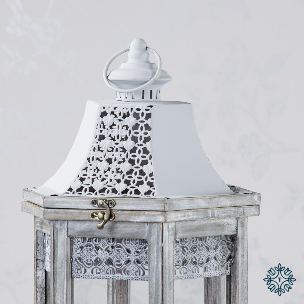 Oxford set of two lanterns hexagonal grey