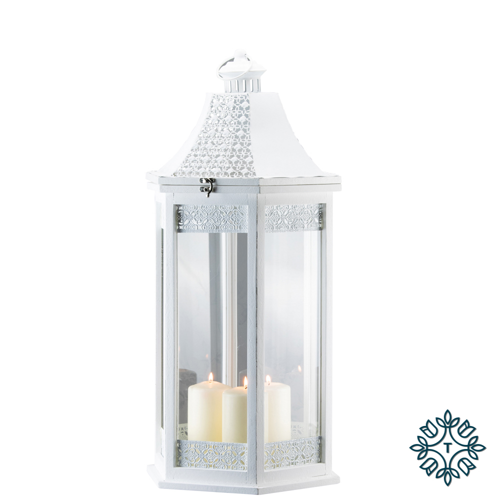 Oxford set of two lanterns hexagonal white