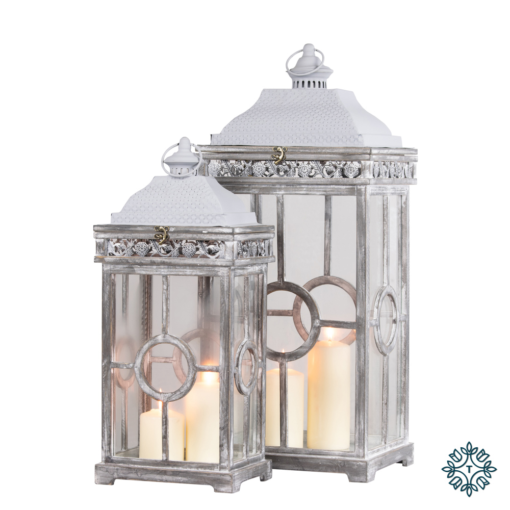 Cambridge lanterns set of two grey