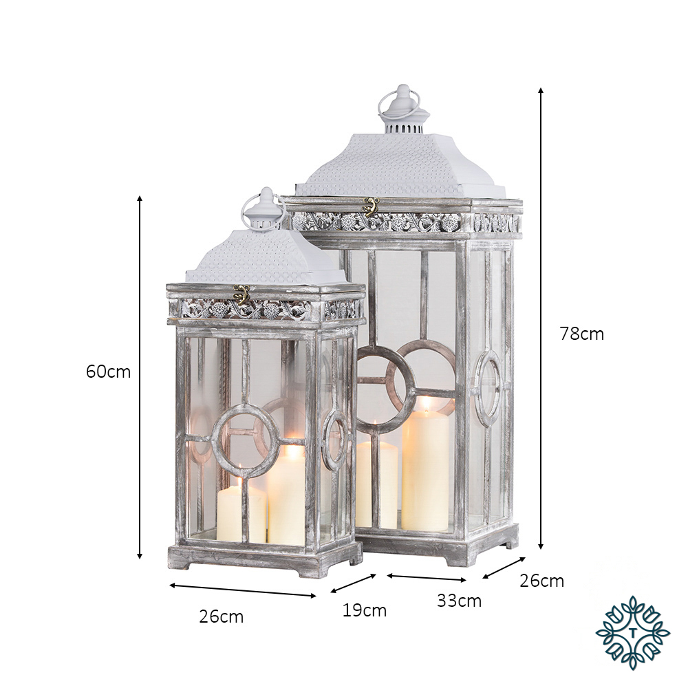 Cambridge lanterns s/2 grey