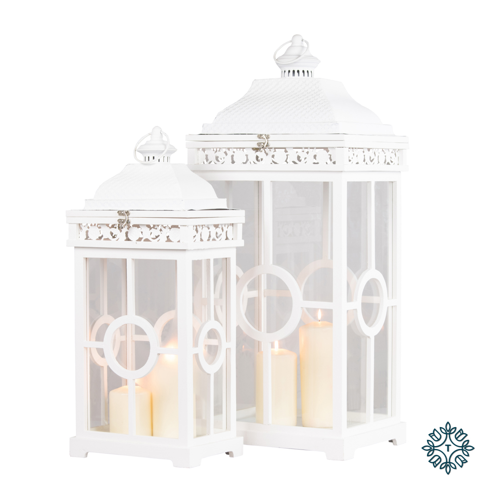 Cambridge lanterns set of two white