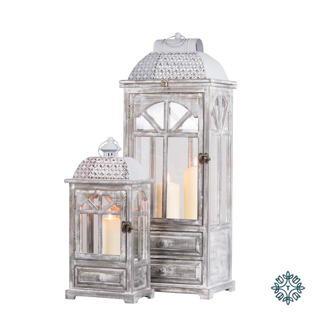 Chester window lanterns w/drawers set of two grey