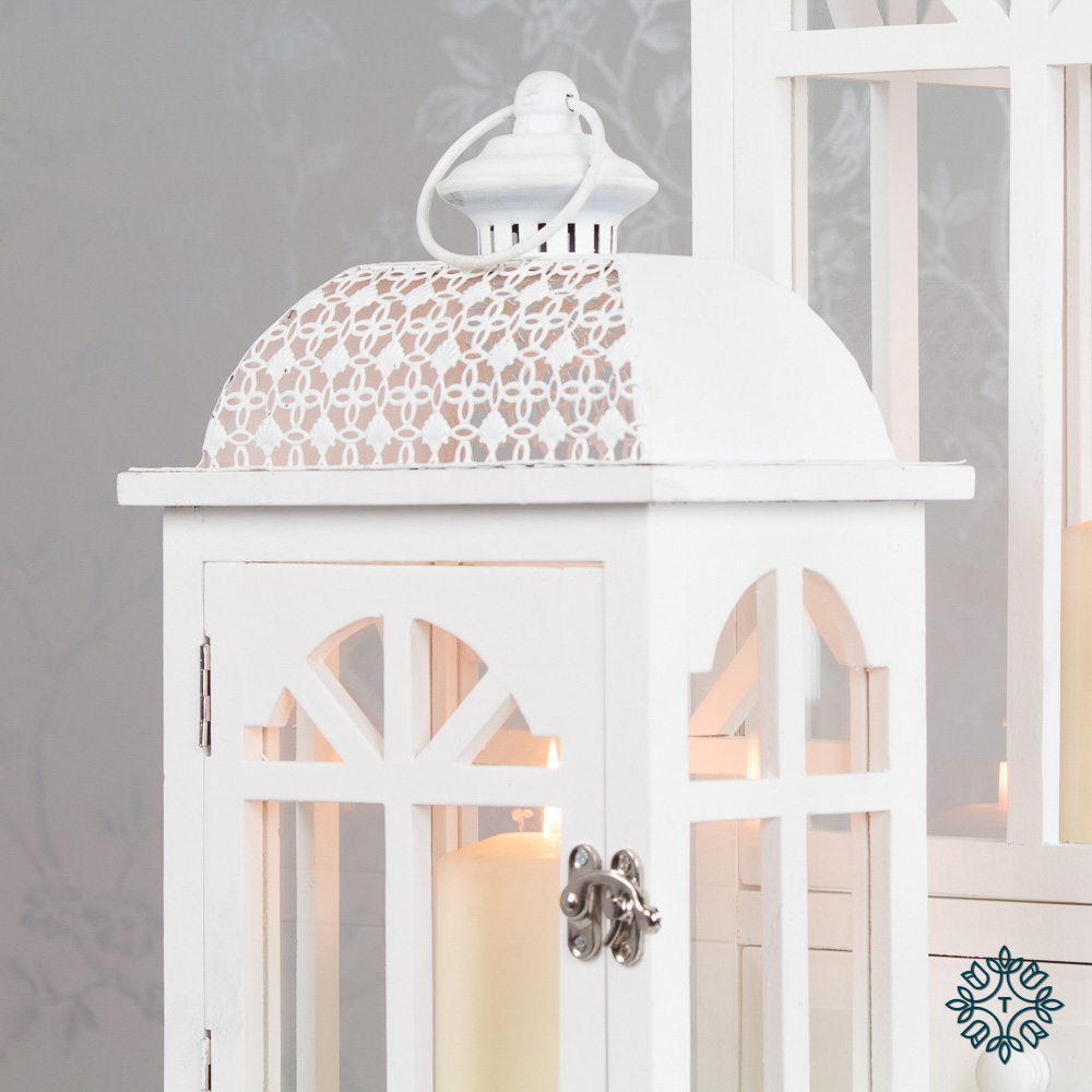 Chester window lanterns set of two white