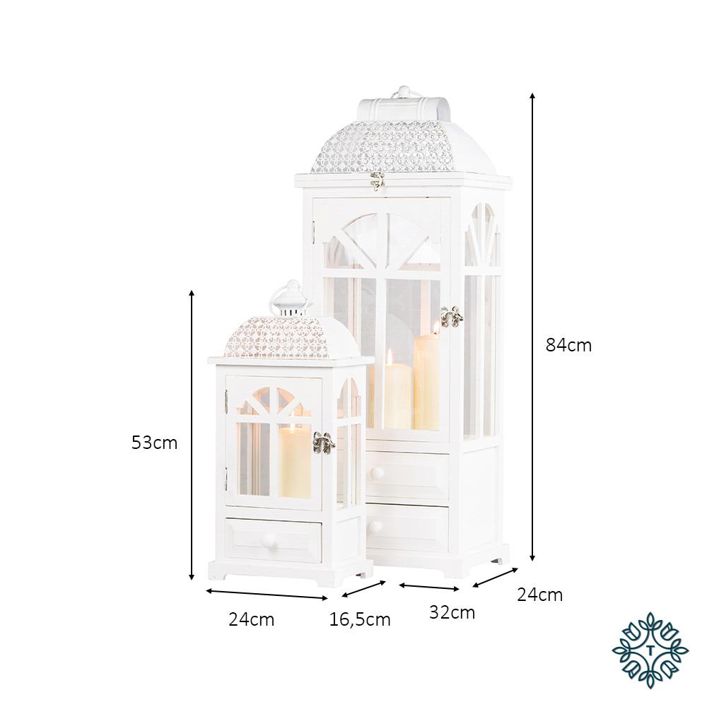 Chester window lanterns s/2 white