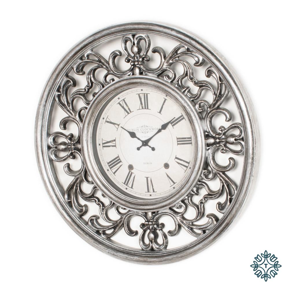 Ornate clock 65cm antique silver