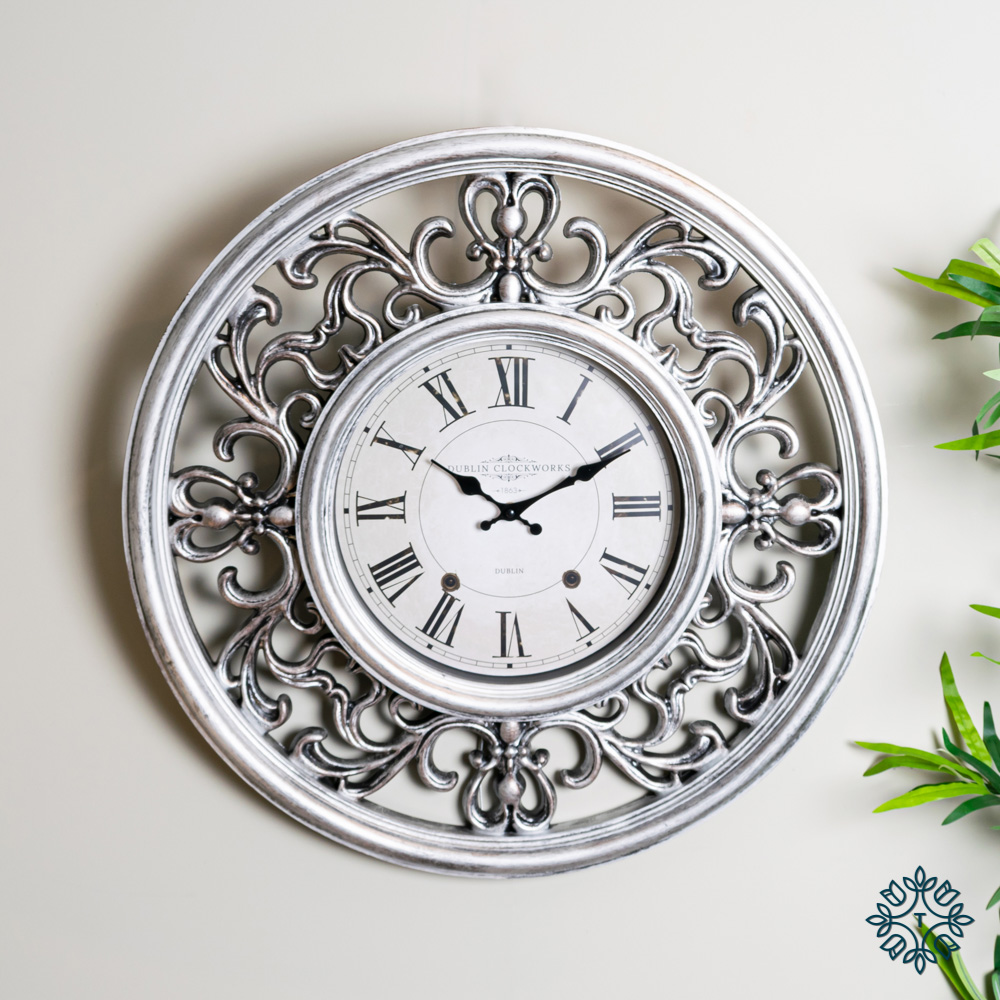 Ornate clock 65cm antique silver