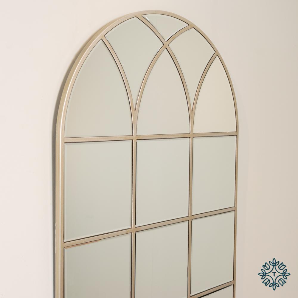 Palladian window mirror soft champagne 112cm
