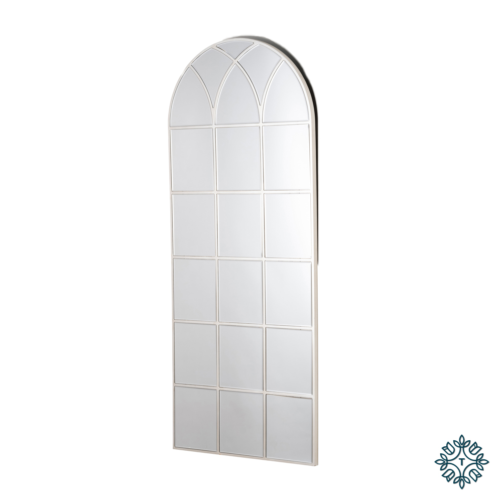 Palladian window mirror with mirrored frame and archway design
