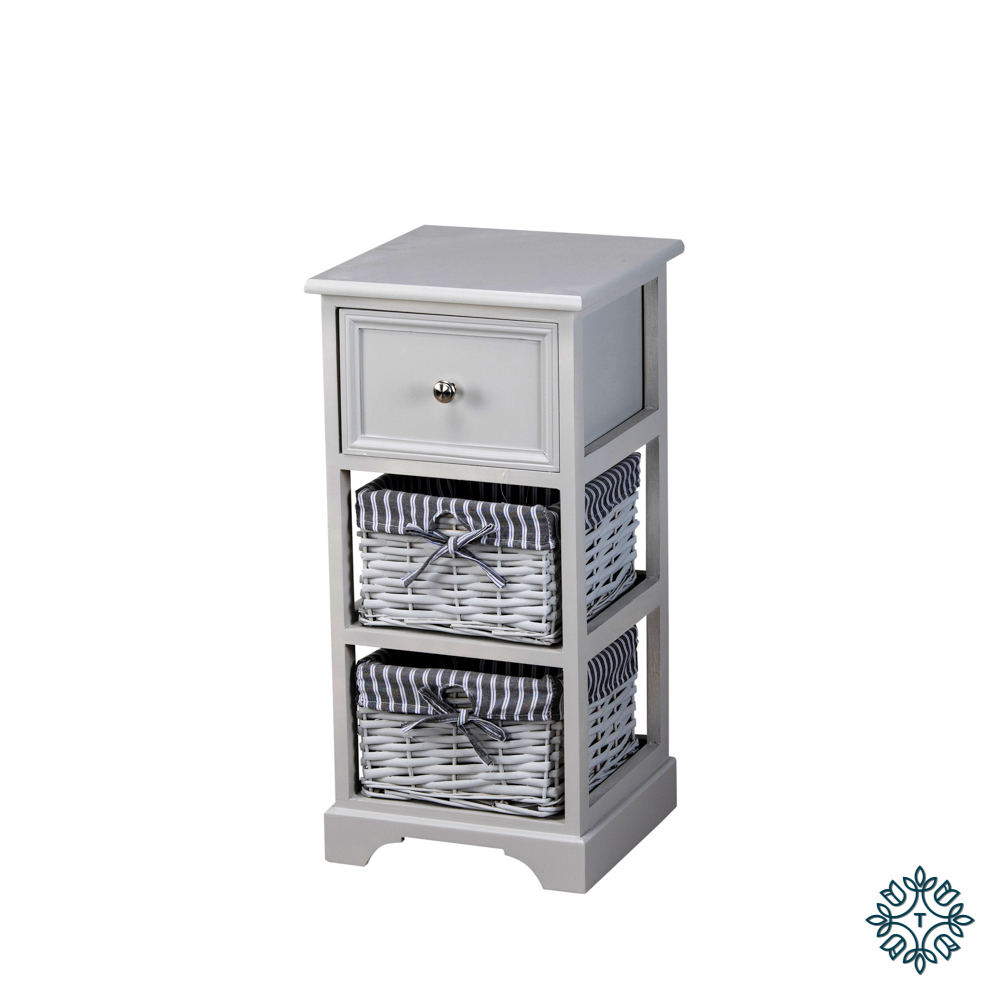 Chester 1 drawer 2 basket storage unit grey