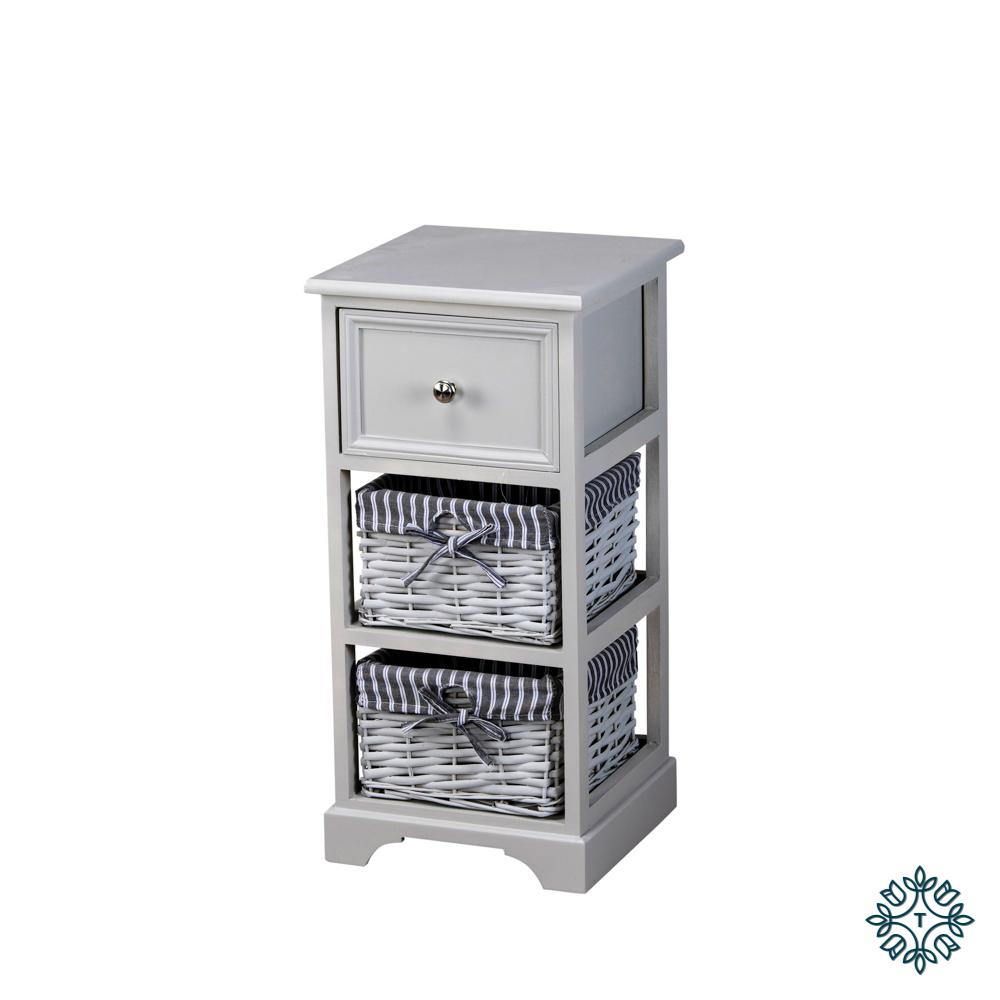 Chester 1 drawer 2 basket storage unit grey