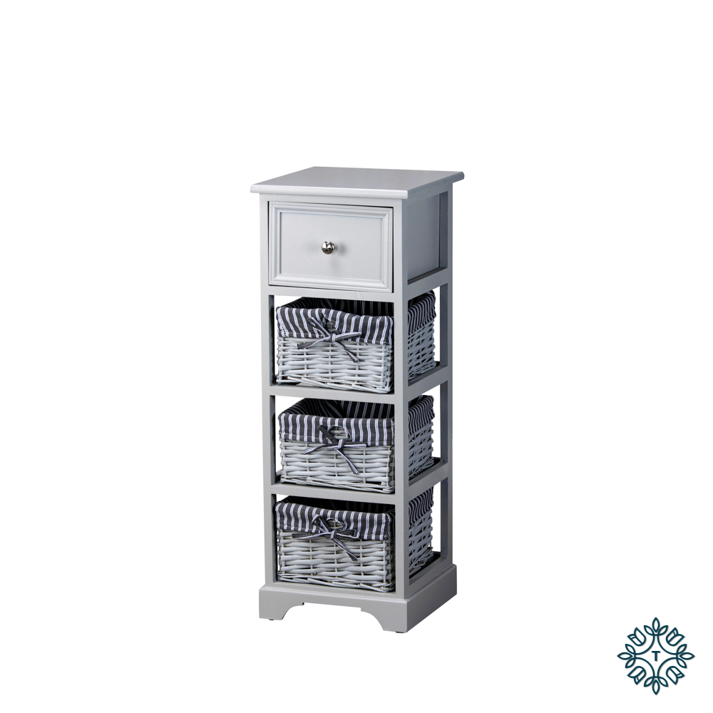 Chester 1 drawer 3 basket storage unit grey
