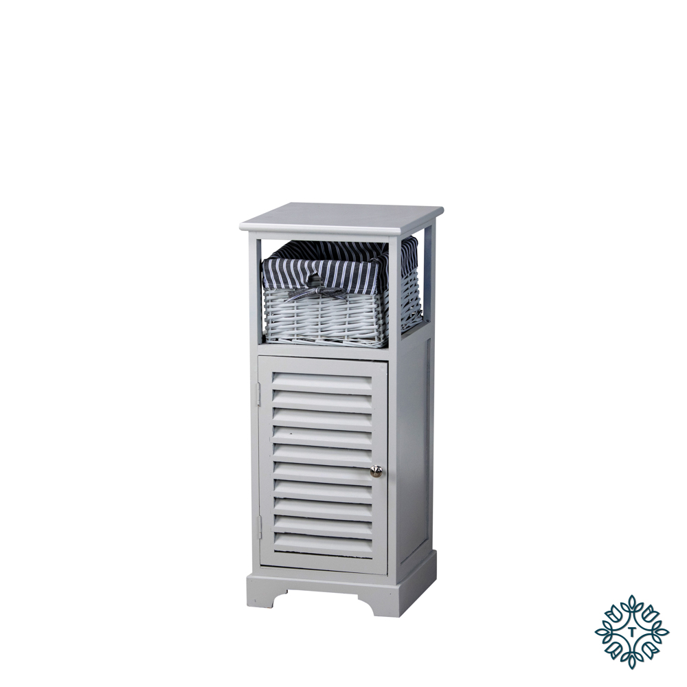 Chester 1 door 1 basket storage cabinet grey