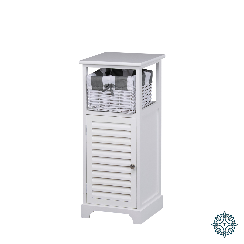 Boston 1 door 1 basket storage cabinet white