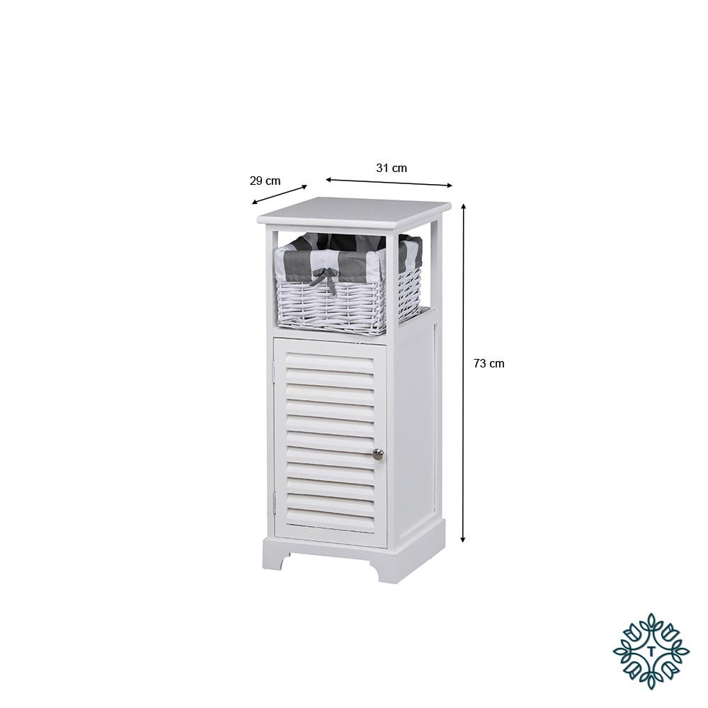 Boston 1 door 1 basket storage cabinet white