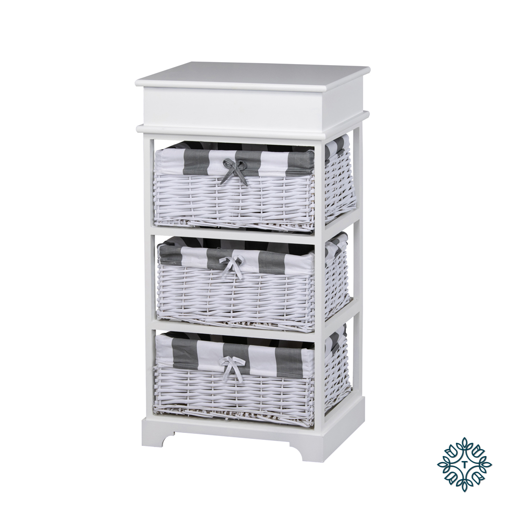 Boston 3 basket storage unit white