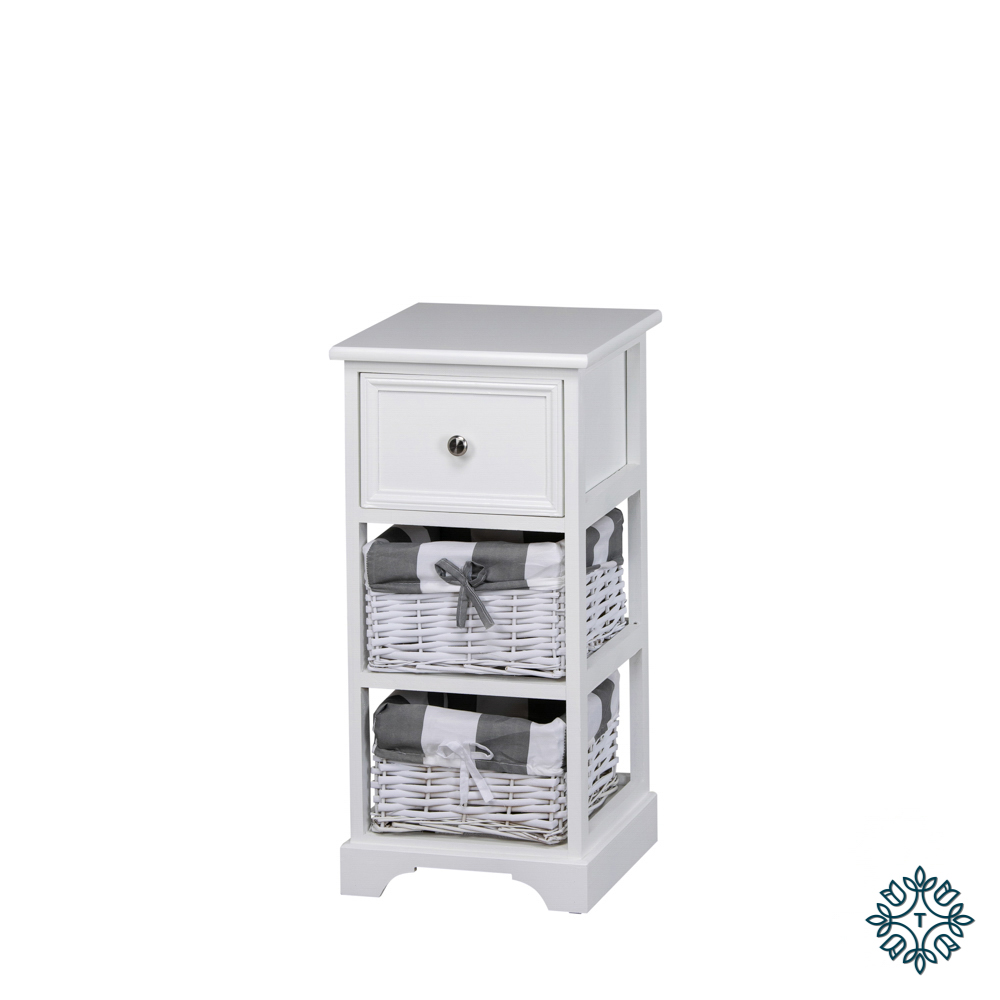 Boston 1 drawer 2 basket storage unit white