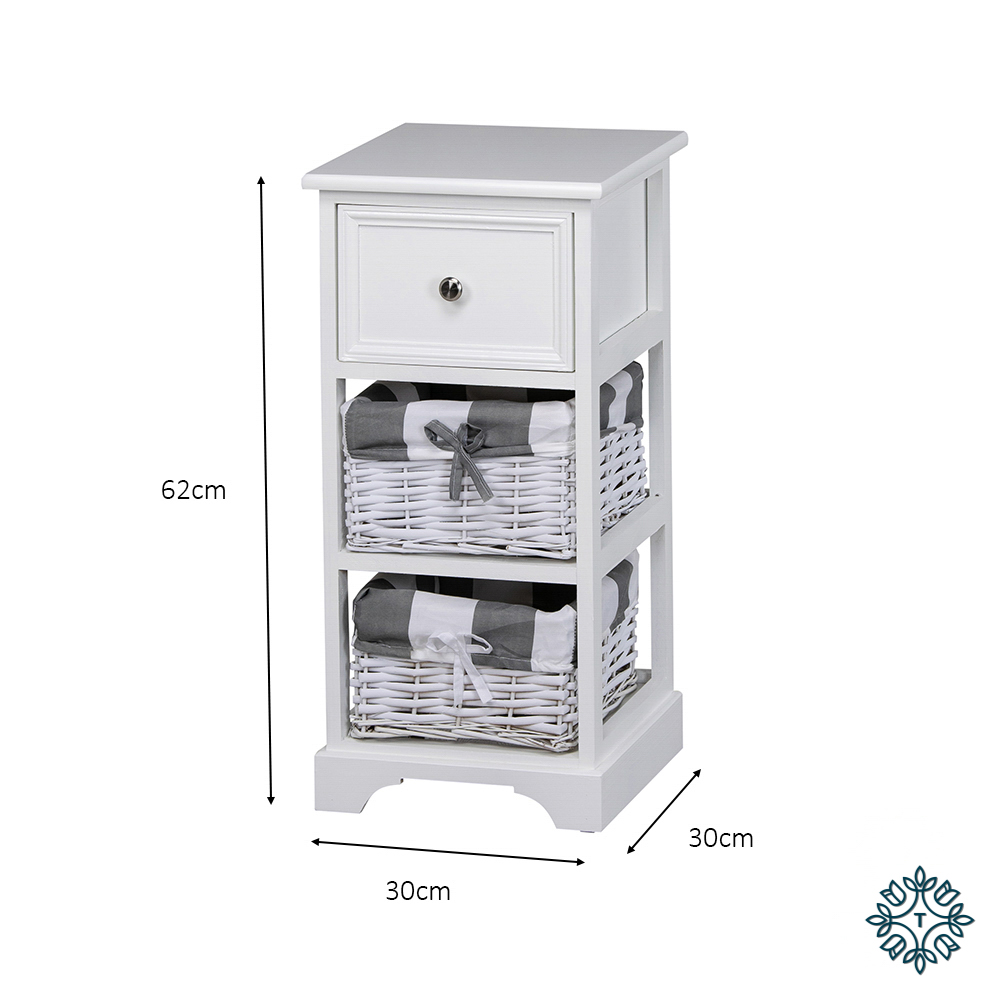 Boston 1 drw 2 bsk storage unit white