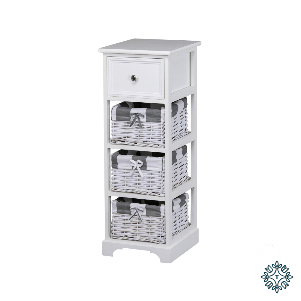 Boston 1 drw 3 bsk storage unit white
