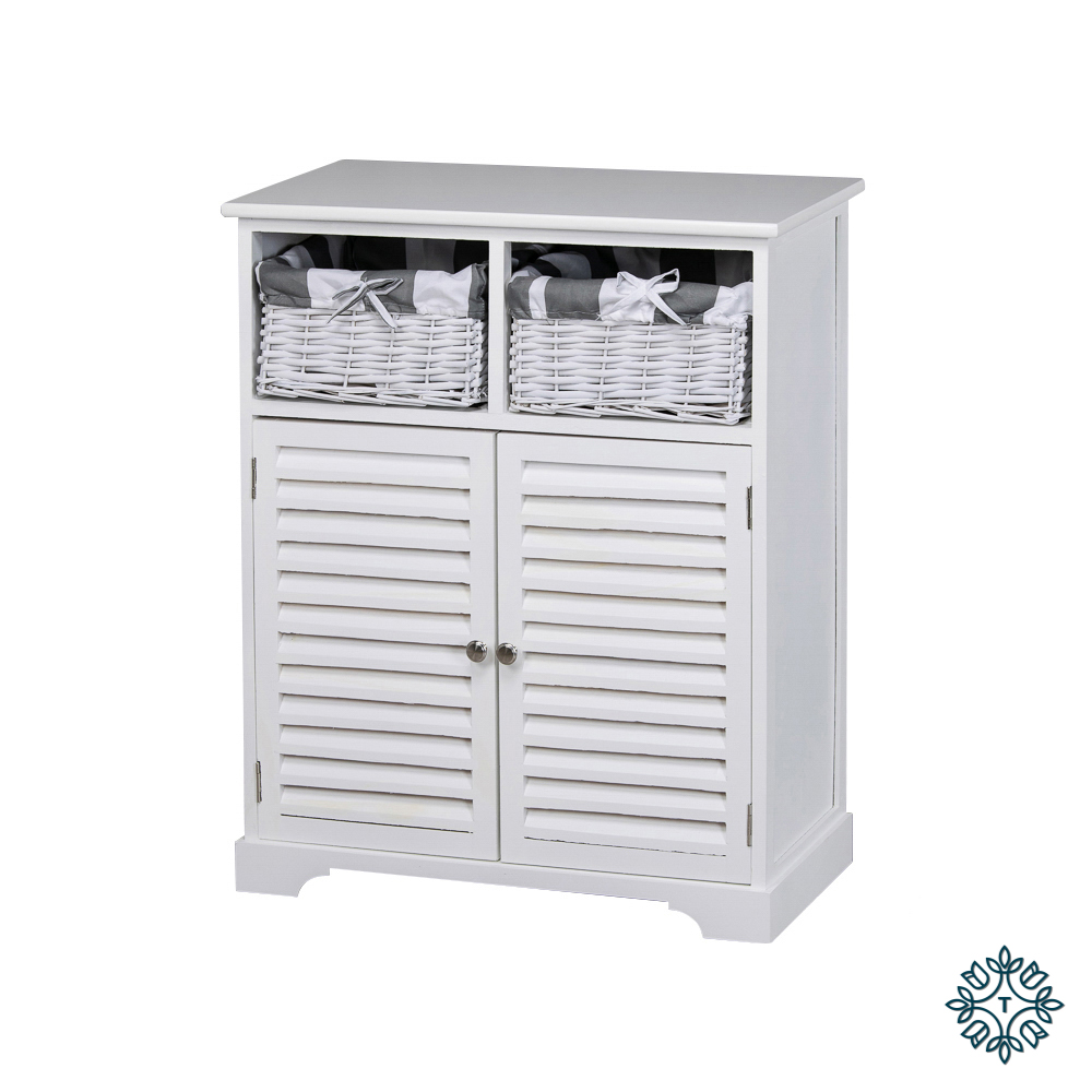 Boston 2 door 2 basket storage cabinet white