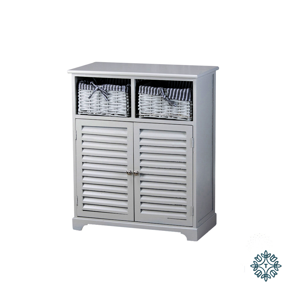 Chester 2 door 2 basket storage cabinet grey