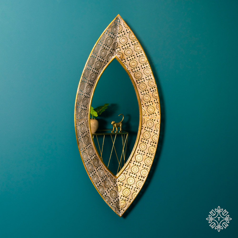 Amira leaf mirror gold 125 x 56cm