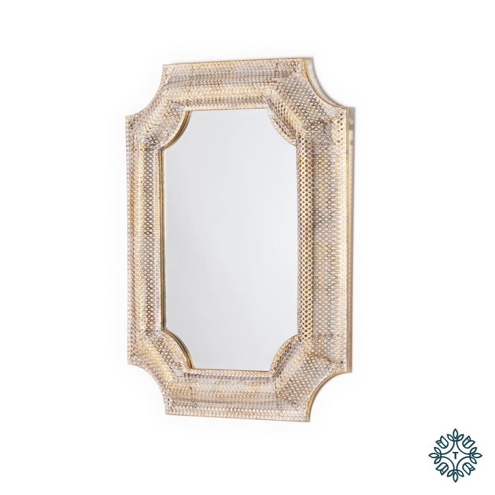 Amira inverse corner mirror gold 66 x 84cm