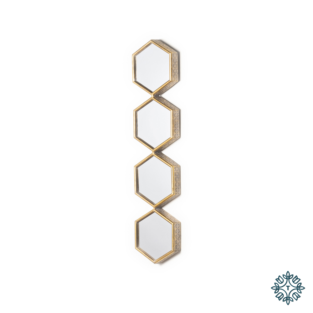 Amira hex accent mirror 4 section gold 105cm