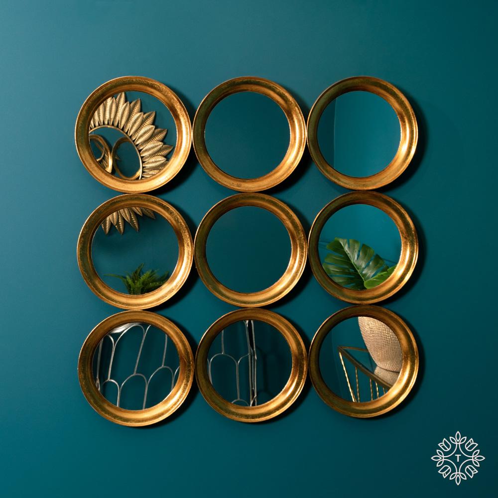 Harriet wall décor 9 mirror antique gold 92cm