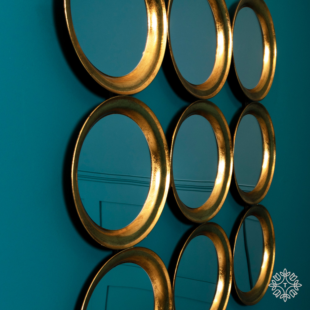 Harriet wall dÉcor 9 mirror ant gold 92cm