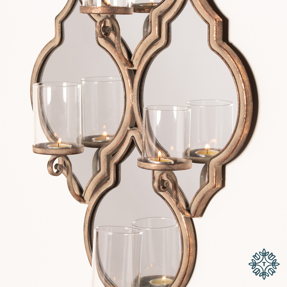 Gatsby 4 holder wall sconce antique copper