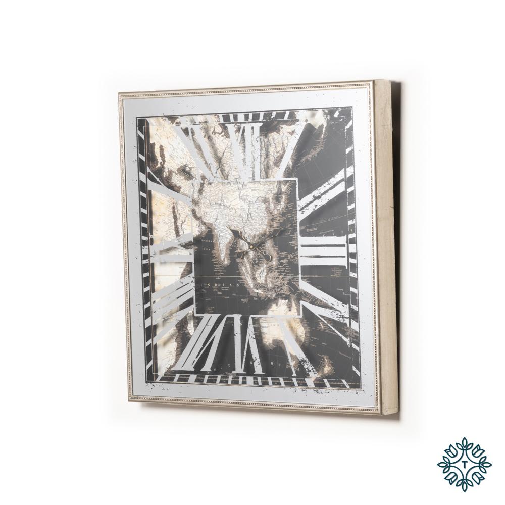 Varese aged mirror world map clock square