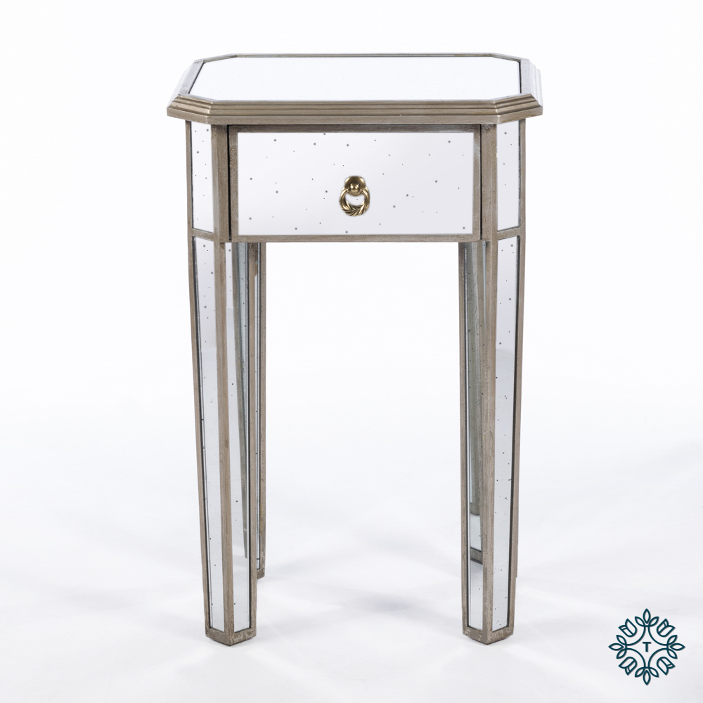 Varese aged mirror 1 drawer side table