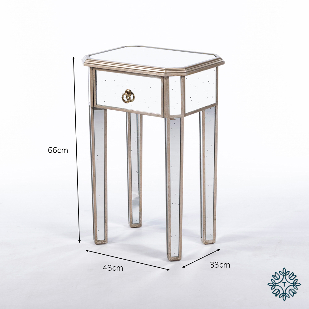 Varese aged mirror 1 drw side table