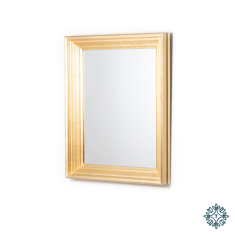 Penzance rectangle ridged mirror vintage gold