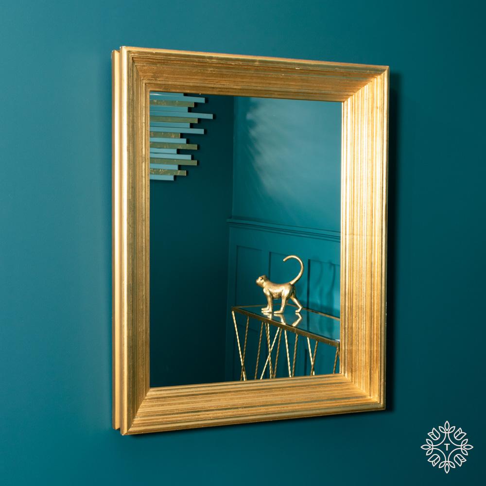 Penzance rectangleangle ridged mirror vintage gold