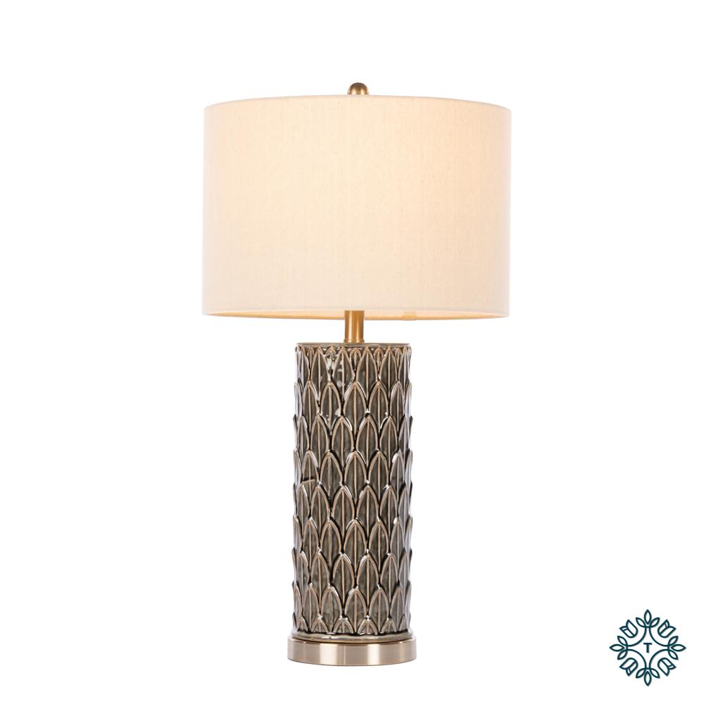 Talia ceramic lamp cyl leaf pattern deep green