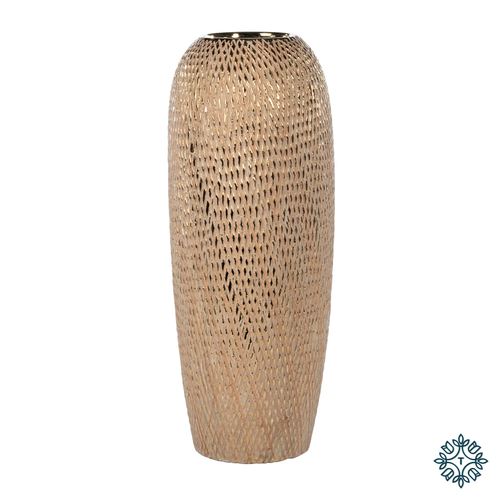Armand ceramic vase 45cm gold diamonds