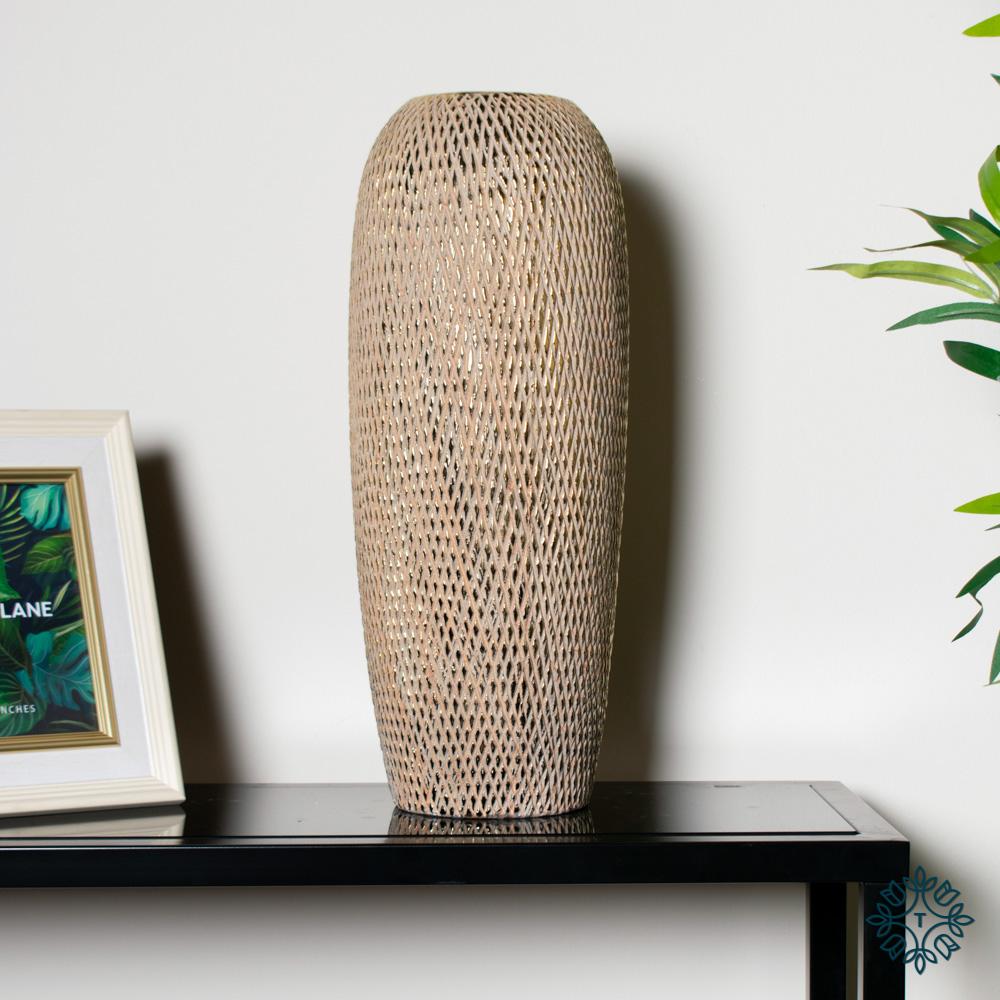 Armand ceramic vase 45cm gold diamonds