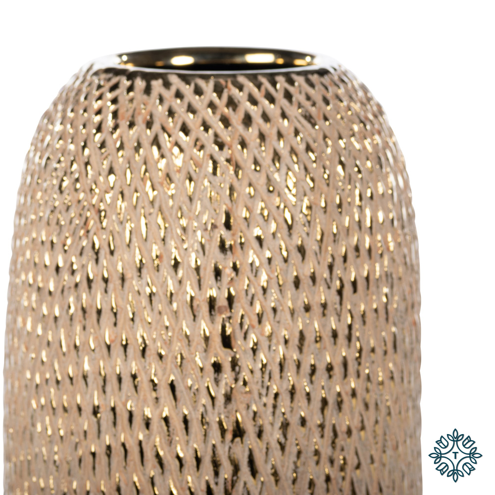 Armand ceramic vase 35cm gold diamonds