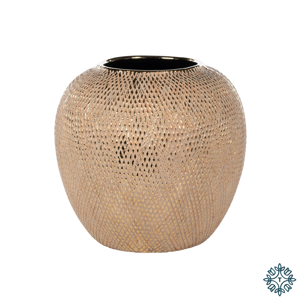 Armand ceramic vase 28cm gold diamonds