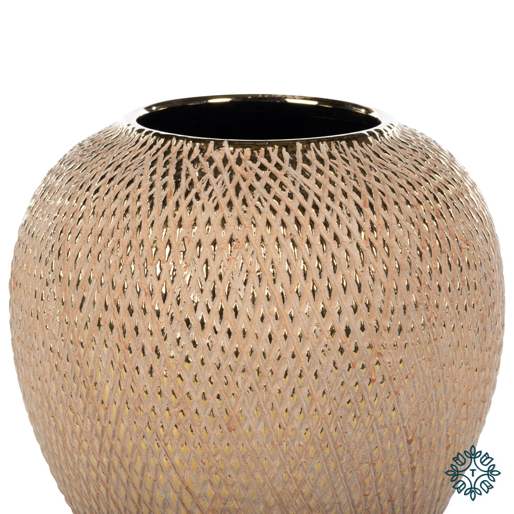 Armand ceramic vase 22cm gold diamonds