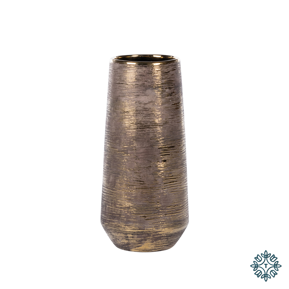 Ancona ceramic vase 33cm linear gold