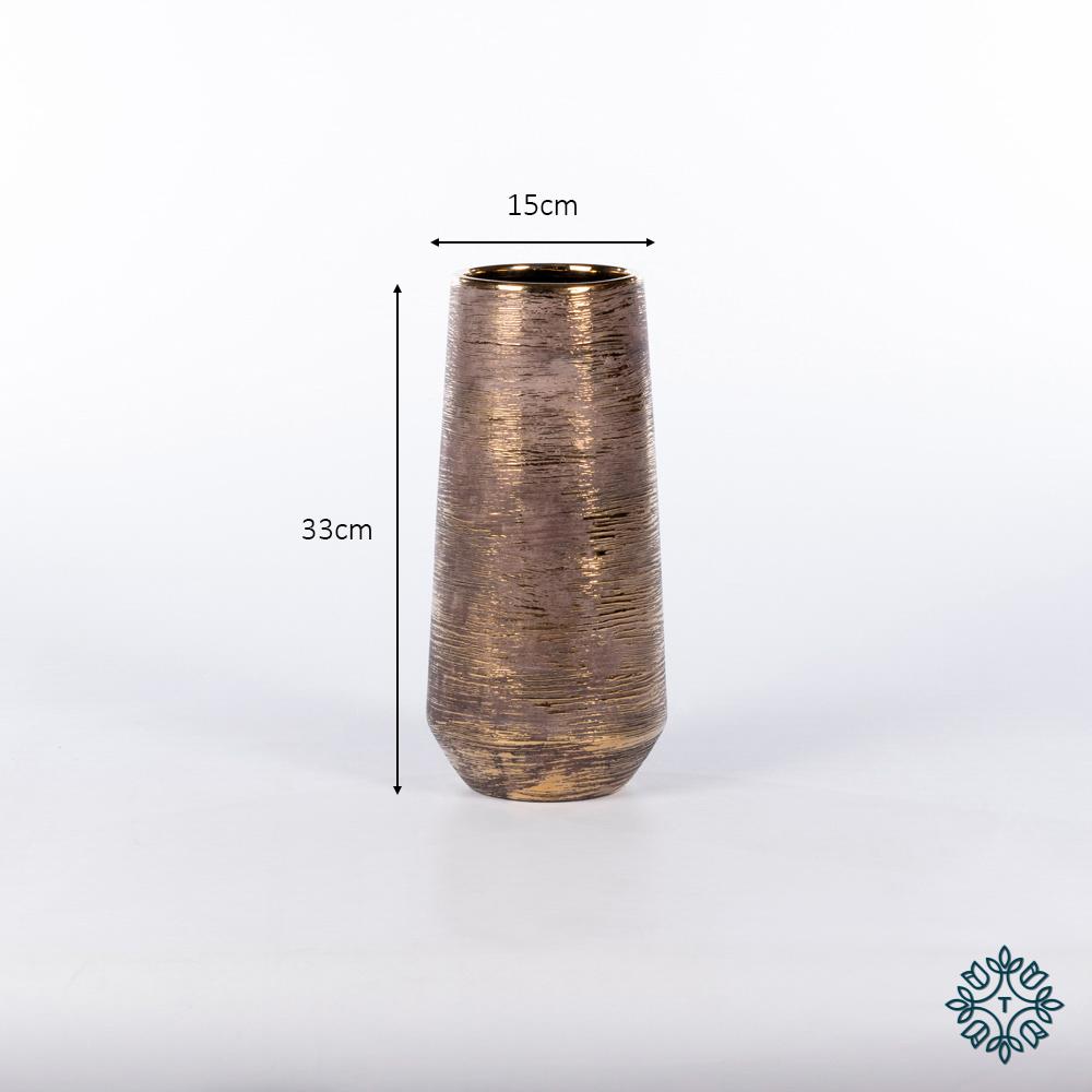 Ancona ceramic vase 33cm linear gold