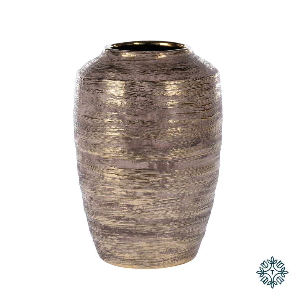 Ancona ceramic vase 36cm linear gold