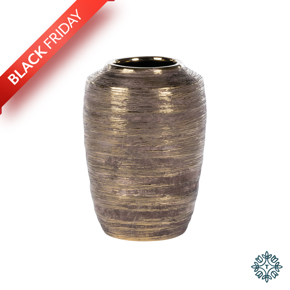 Ancona ceramic vase 27cm linear gold