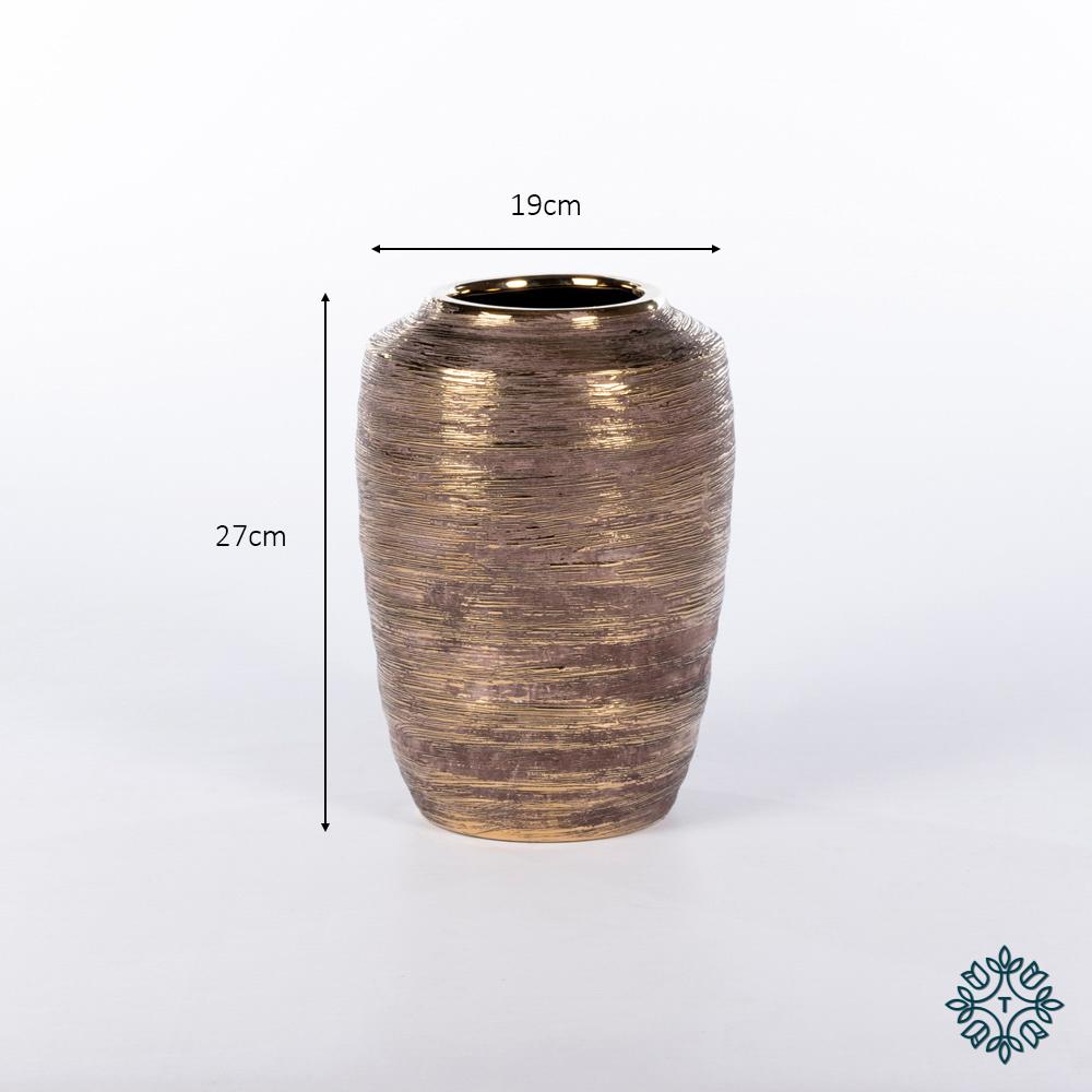Ancona ceramic vase 27cm linear gold