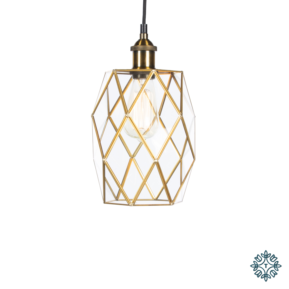 Alto geometric diamond pendant brass