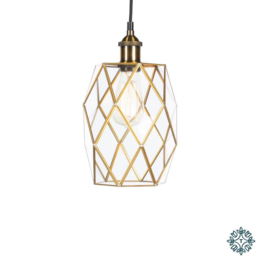 Alto geometric diamond pendant brass
