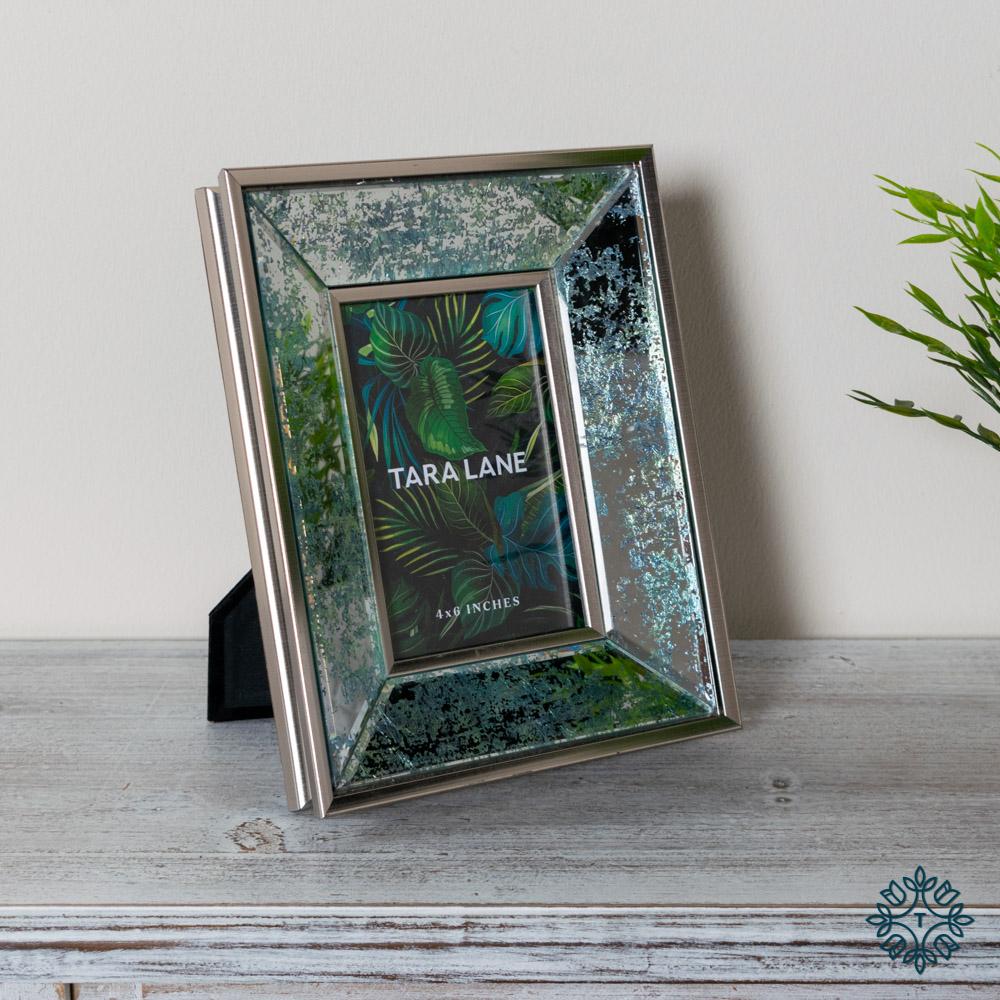 Arctic leaf mirrored photo frame 4 x 6