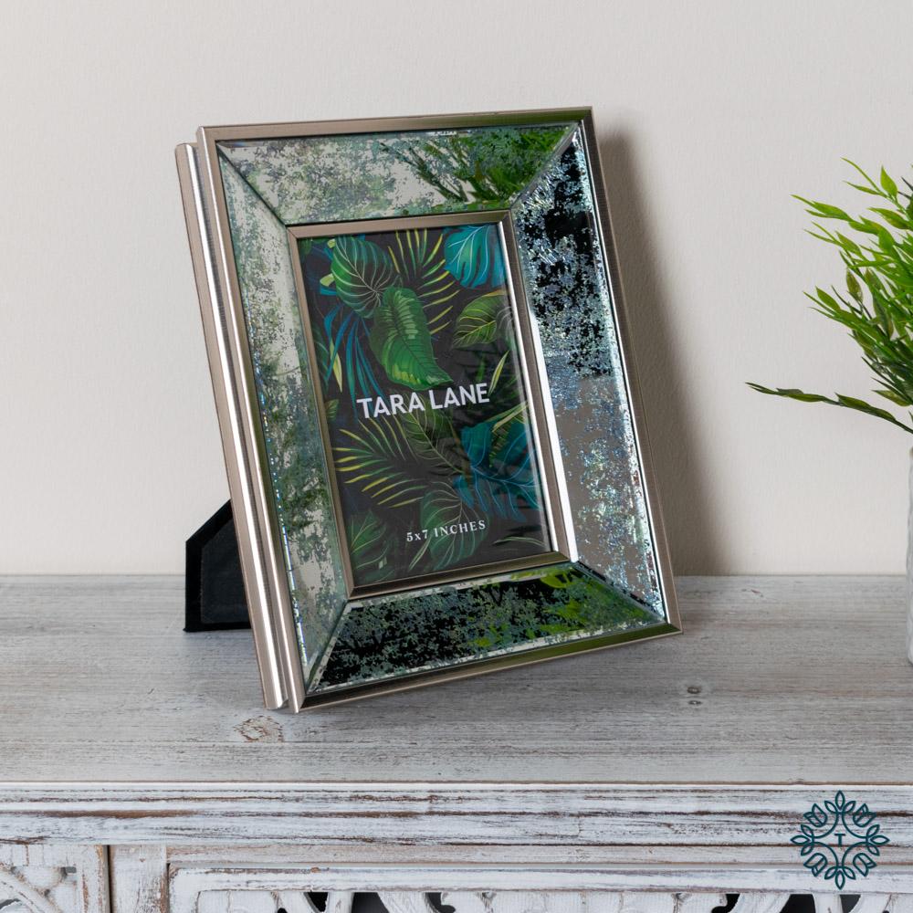 Arctic leaf mirrored photo frame 5 x 7